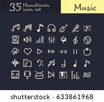 35 hand drawn music icon.... | Shutterstock .eps vector #633861968