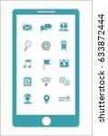 blue smartphone menu icons | Shutterstock . vector #633872444
