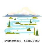 meandering river landscape | Shutterstock .eps vector #633878450