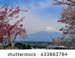 mt. fuji and cherry blossoms in ... | Shutterstock . vector #633883784