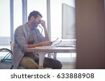 depressed businessman sitting... | Shutterstock . vector #633888908