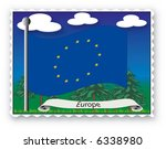 stamp with flag from europe ...