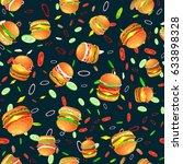 seamless pattern tasty burger... | Shutterstock .eps vector #633898328