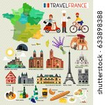 france travel set. vector... | Shutterstock .eps vector #633898388