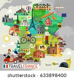 france travel icons. travel map.... | Shutterstock .eps vector #633898400