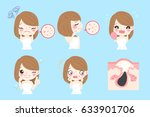 cartoon woman with acne before... | Shutterstock .eps vector #633901706