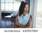 thoughtful young businesswoman... | Shutterstock . vector #633907004