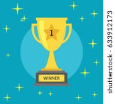 winner gold trophy on a blue... | Shutterstock .eps vector #633912173