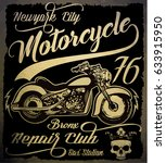 vintage motorcycle. hand drawn... | Shutterstock . vector #633915950