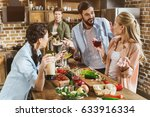 young people partying at... | Shutterstock . vector #633916334