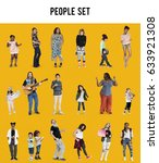 diverse of people enjoy music... | Shutterstock . vector #633921308