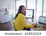 portrait of smiling female... | Shutterstock . vector #633922319