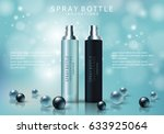 spray bottle isolated on blue... | Shutterstock .eps vector #633925064