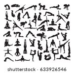 a set of detailed yoga poses... | Shutterstock . vector #633926546