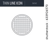 symbol of sieve. thin line icon ... | Shutterstock .eps vector #633926570