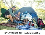 family having snacks and coffee ... | Shutterstock . vector #633936059
