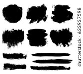 set of hand painted black... | Shutterstock .eps vector #633937598