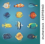 vector set of tropical fish....   Shutterstock .eps vector #633958460
