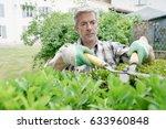 mature man in garden trimming... | Shutterstock . vector #633960848