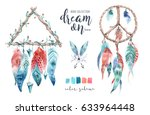 isolated watercolor decoration... | Shutterstock . vector #633964448