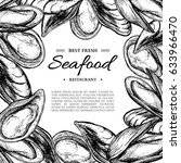 seafood hand drawn mussel and... | Shutterstock . vector #633966470
