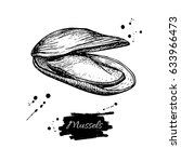 mussel hand drawn illustration. ... | Shutterstock . vector #633966473