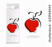 juice cartons  apple  vector | Shutterstock .eps vector #633968444
