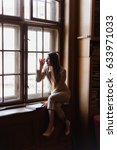 beautiful stylish business lady ... | Shutterstock . vector #633971033