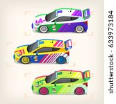 set of colorful fast motor... | Shutterstock .eps vector #633973184