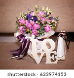 flower bouquet  gift and love... | Shutterstock . vector #633974153