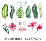 hand drawn watercolor tropical... | Shutterstock . vector #633974240