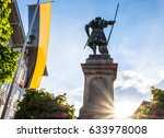famous historic statue in bad toelz - bavaria - germany - pfleger winzerer - stock photo
