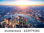 shanghai city scenery big data | Shutterstock . vector #633979283