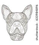 bulldog head animal coloring... | Shutterstock .eps vector #633984896
