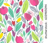 seamless floral pattern with... | Shutterstock .eps vector #633985094