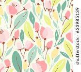 seamless floral pattern with... | Shutterstock .eps vector #633985139