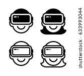 virtual reality icon set with...