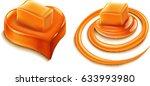 milk swirl with caramel candy   Shutterstock .eps vector #633993980