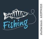 fishing logo isolated on a dark ... | Shutterstock .eps vector #633994310