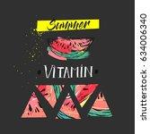 hand drawn vector funny summer... | Shutterstock .eps vector #634006340