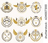 heraldic emblems with wings... | Shutterstock .eps vector #634007300