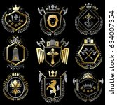 set of luxury heraldic vector... | Shutterstock .eps vector #634007354