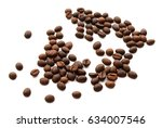 coffee beans isolated on white... | Shutterstock . vector #634007546