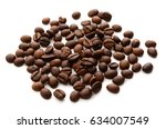coffee grains and leaves... | Shutterstock . vector #634007549
