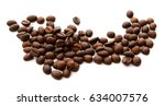 coffee grains and leaves... | Shutterstock . vector #634007576