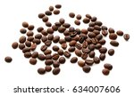 roasted coffee beans pile from... | Shutterstock . vector #634007606