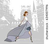 fashionable beautiful girl in...   Shutterstock .eps vector #634007996
