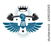 logotype for heavyweight gym or ... | Shutterstock .eps vector #634010543