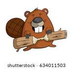 Cartoon Beaver With A Piece Of...