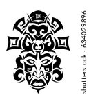 ethnic mask icon or inca flat... | Shutterstock .eps vector #634029896